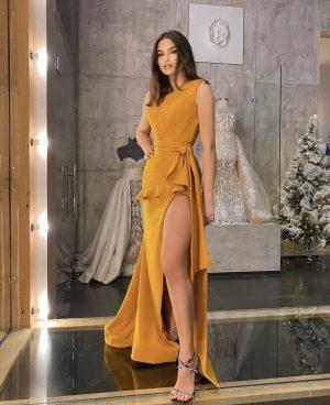 Risqué thigh high slit embellished mustard dress