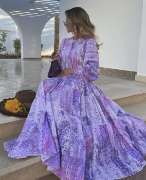 Victoria fox in a lavender classy outfit