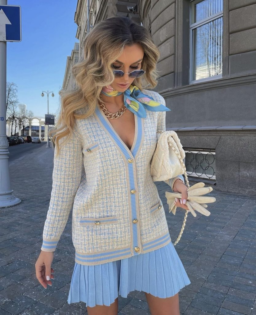 Victoria fox in a luxe preppy  outfit