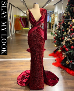 Luscious Ostrich feather wine red dress