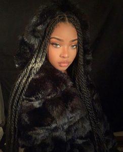Luxury long  midnight black braid Synthetic wig