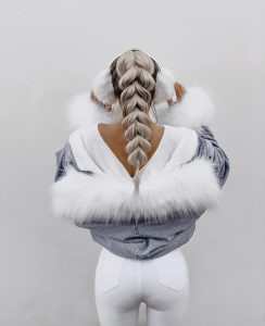 Luxury Ash ombré realistic ponytail braid Synthetic wig
