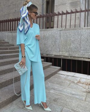 Victoria fox in an on trend baby blue  summer outfit