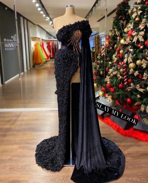 Ostrich feather rainbow embellished black dress