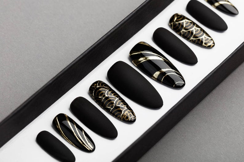 Luxury Black & Gold Abstraction Press on Nails