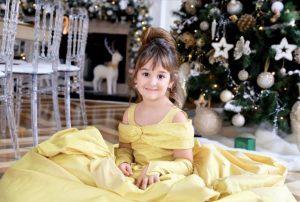 Gorgeous yellow belle theme kids couture dress