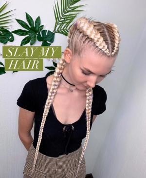 Blonde cornrow  braid Synthetic wig