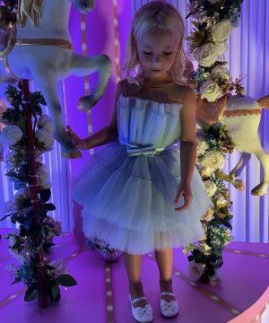 Adorable powder blue pleat tulle kids couture dress