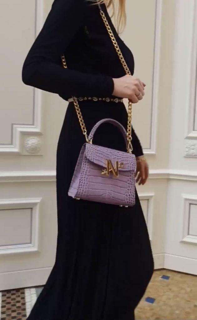 Lavender Croc effect leather handbag
