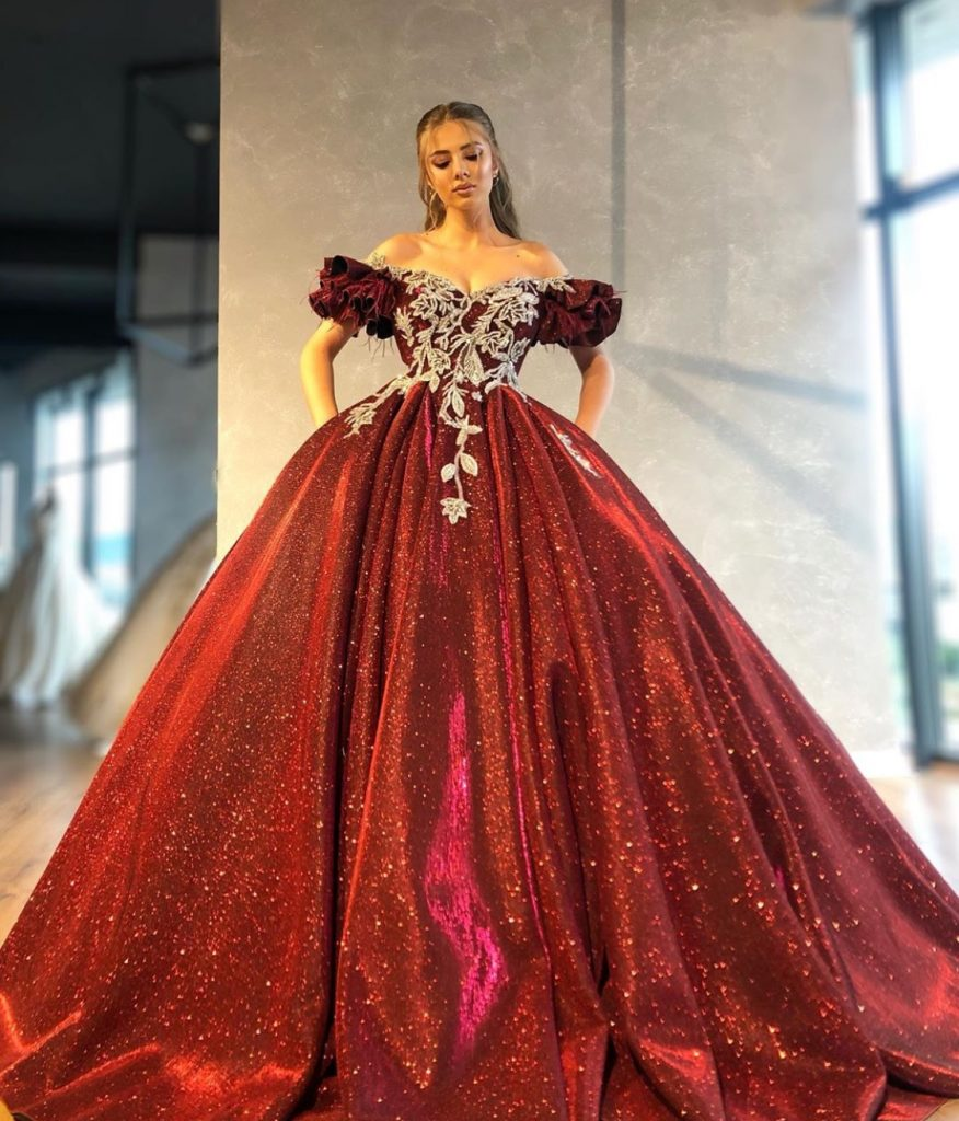 Opulent red starlight ball gown