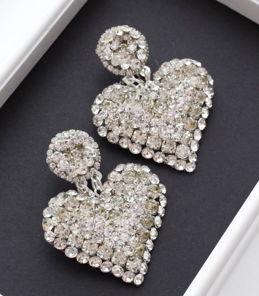 Heart bling earrings