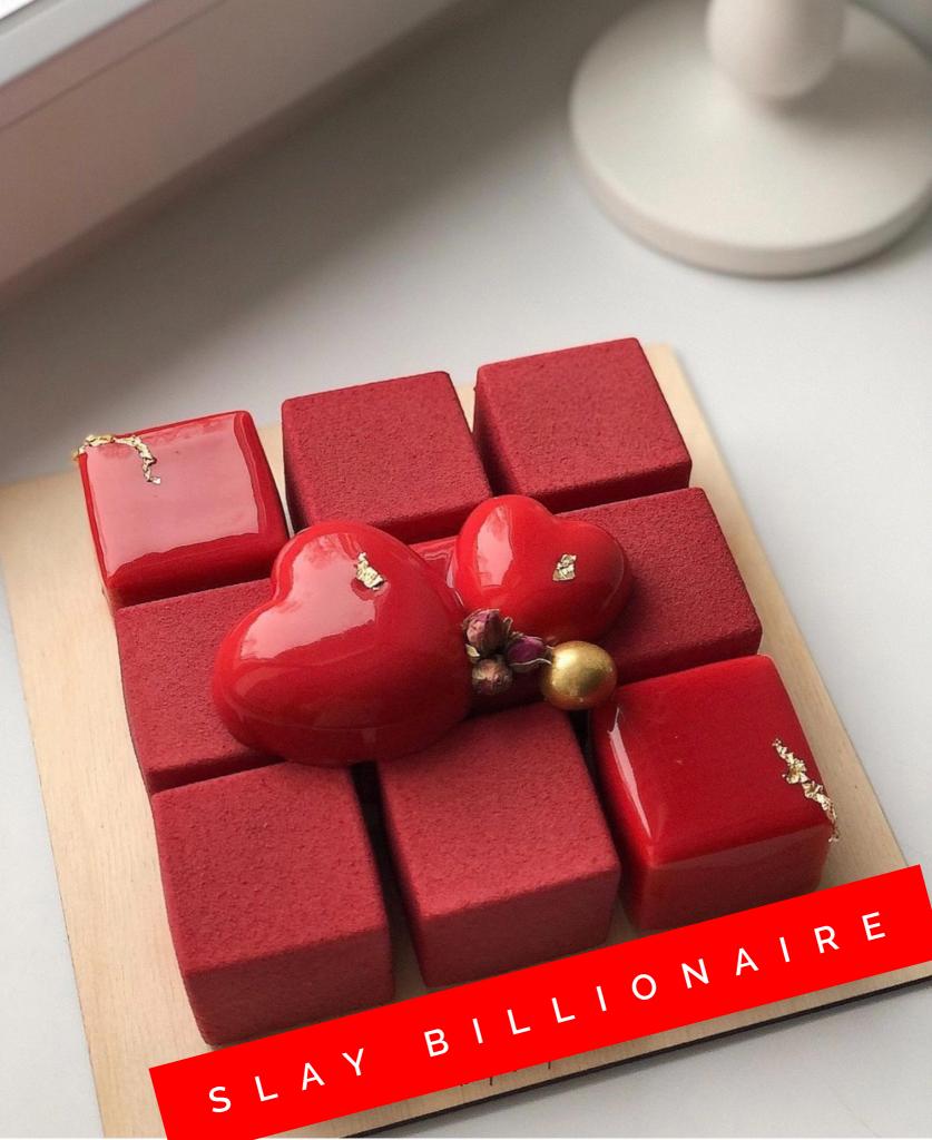 Super trendy 3D red cube cake