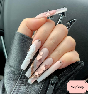 Luxury baby pink sparkle love embellished Press on Nails