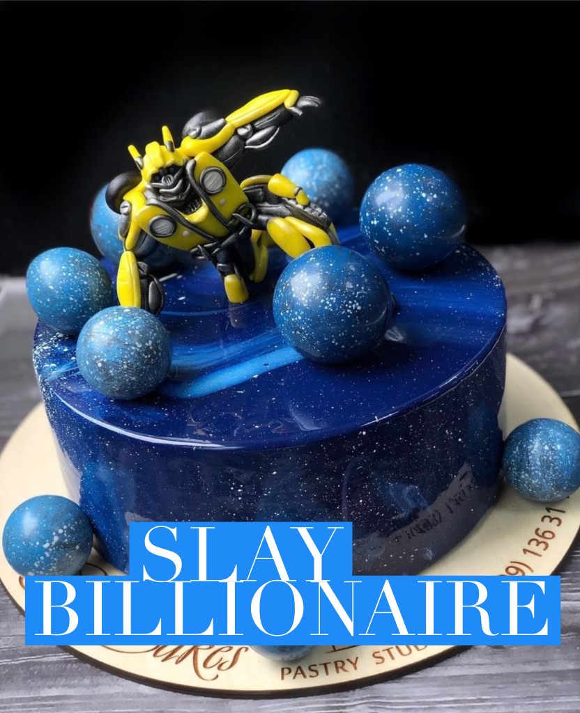Transformer and space theme fancy cake