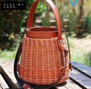 Ultra premium leather wicker bucket bag