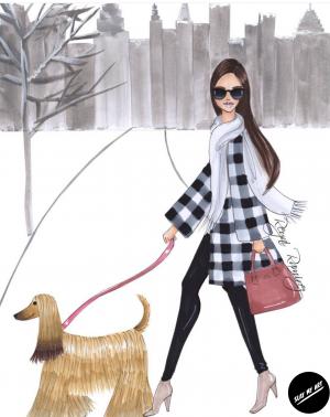 Winter fashion art illustration