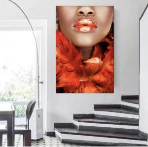 Luxury red tone art print