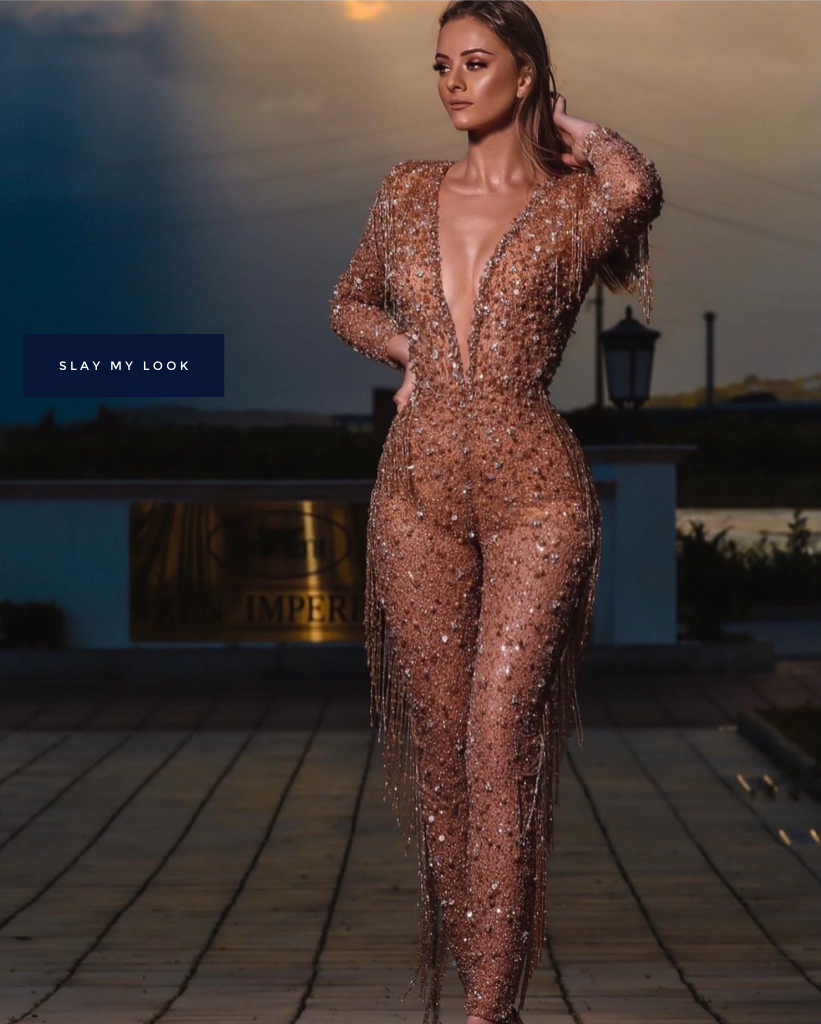 Crystal encrusted see through couture jumpsuit