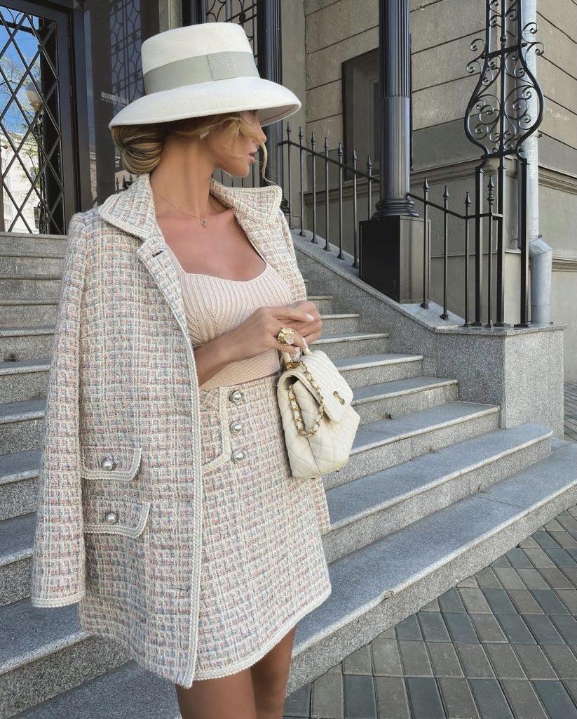Victoria Fox in fancy tweed ensemble