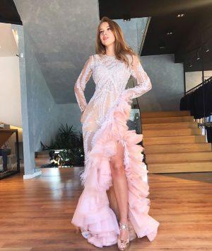 A gorgeous pink ruffle dress