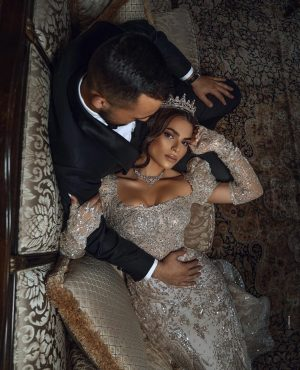 Truly spectacular Groom and Bride sparkle ensemble