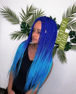 Luxury long bright blue ombré mermaid vibe braid synthetic wig