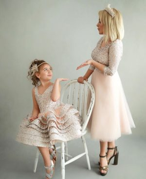 Mommy and me pink champagne theme couture outfit