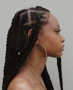 Luxury long black thick braid synthetic wig