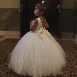 Dreamy ethereal flower girl couture dress